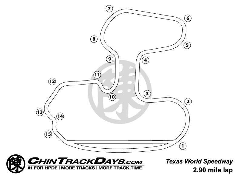 Texas World Speedway (TWS) Track Map
