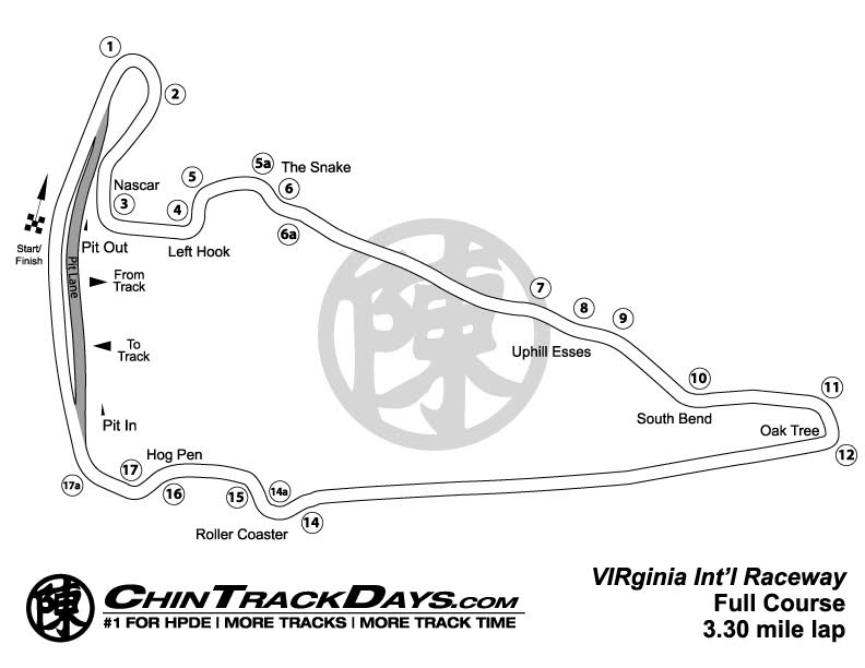 Virginia International Raceway (VIR) Track Map