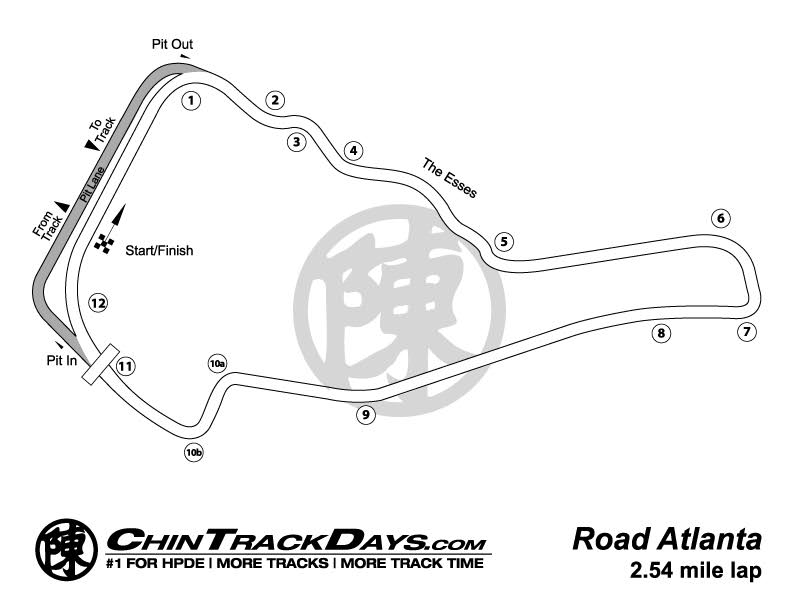 Road Atlanta Track Map Road Atlanta | Chin Track Days Road Atlanta Track Map